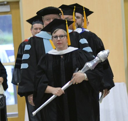 Jennifer Lopes Carries the Ceremonial Mace at PTC Graduation