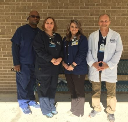 •PTC Radiologic Technology Faculty, from left:  Jerry Ryans, instructor; Dana Long, clinical coordinator; Lindsay Edwards, adjunct instructor; and Lee Balentine, program director