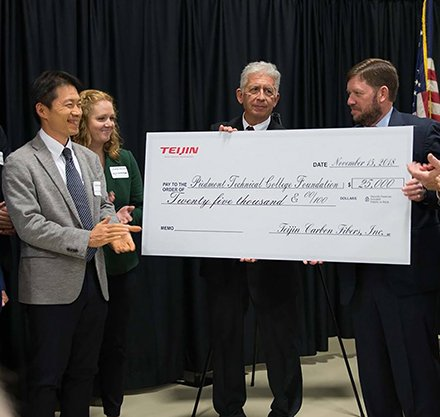 Teijin check presentation for O'Dell Center