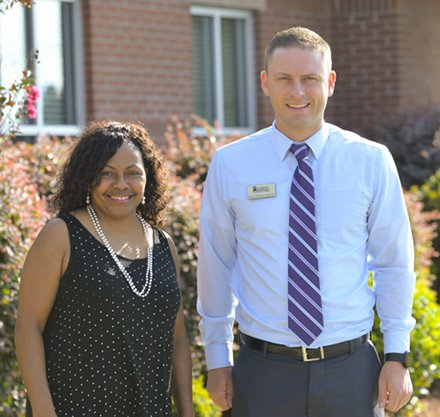 Willette Wright and Ryan Shelton-Benson meet at Saluda Campus